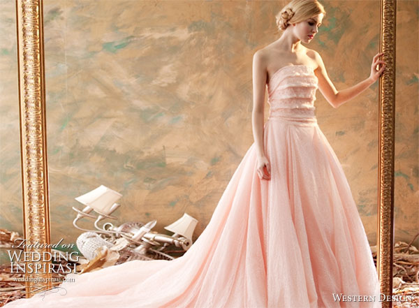 Western Design Taiwan strapless Wedding Dress or Evening Gown in  peach/ rose/ baby pink/salmon