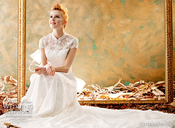 Western Design wedding dress - short sleeve wedding gown with mandarin collar