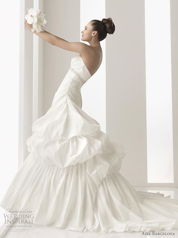 Aire Barcelona 2011 wedding dress - Nara taffeta gown adorned with jewelled stones