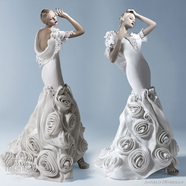 Angelo Mozzillo White Collection 2010 wedding dress with large rosette or floral fabric adornment