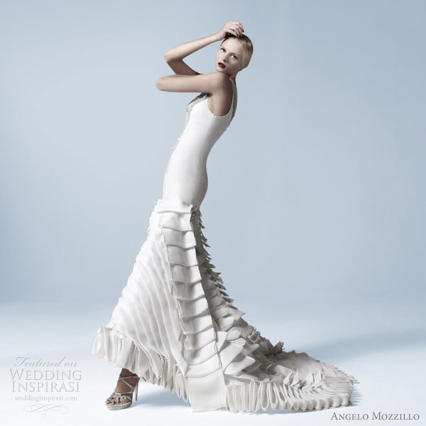 Angelo Mozzillo White Collection 2010 wedding dress with avant-garde pleated skirt
