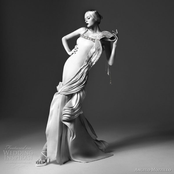 Angelo Mozzillo White Collection 2010 wedding dress with beautiful draping