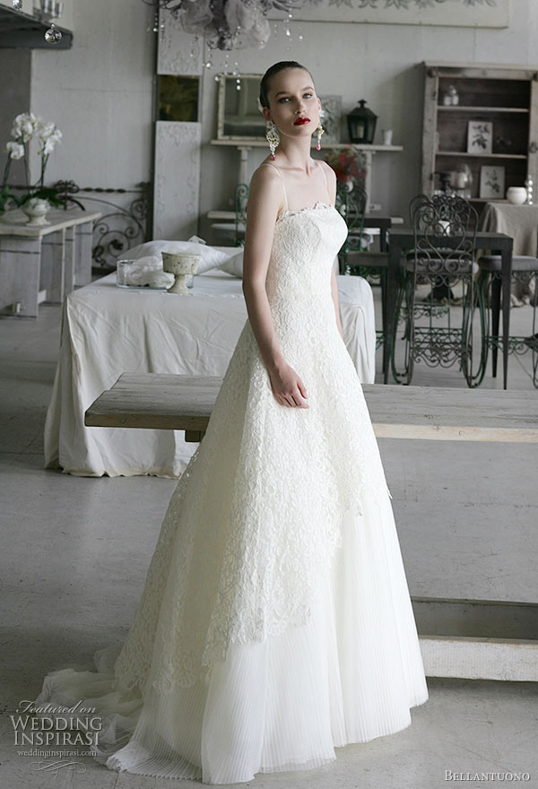 Bellantuono wedding gowns 2010 collection - strapless bridal ivory lace gown
