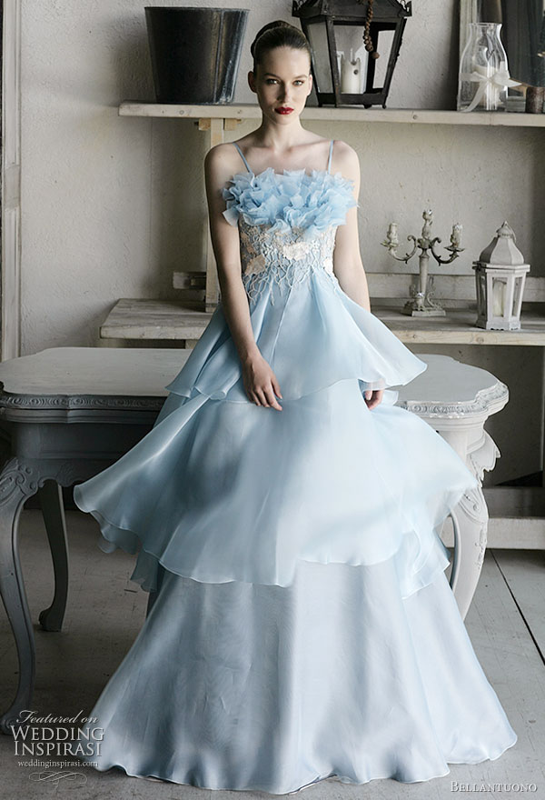 Bellantuono light blue wedding dress, strapless with tiered skirt from the 2010 bridal collection