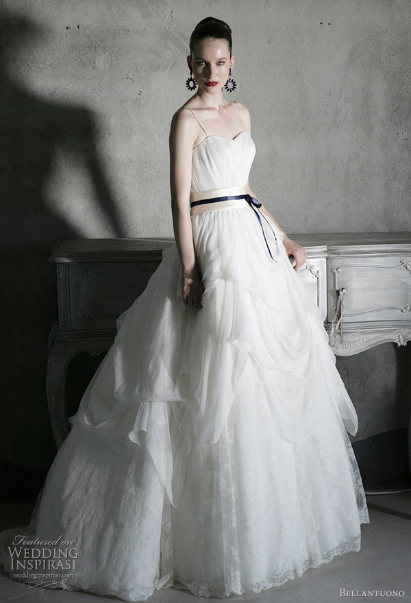 Bellantuono wedding gown from the 2010 bridal collection - strapless ballgown with blue obi-inspired sash belt and draped skirt