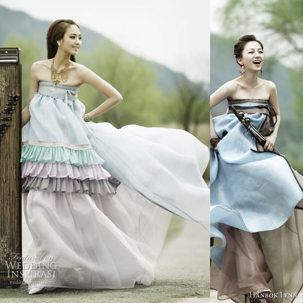 Fusion Wedding Fashion Colorful Modern Hanbok Wedding Inspirasi