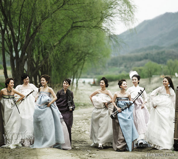 Modern Fusion Hanbok fashion - the traditional korean dress given an update using unusual materials such as chiffon, in lighter colors