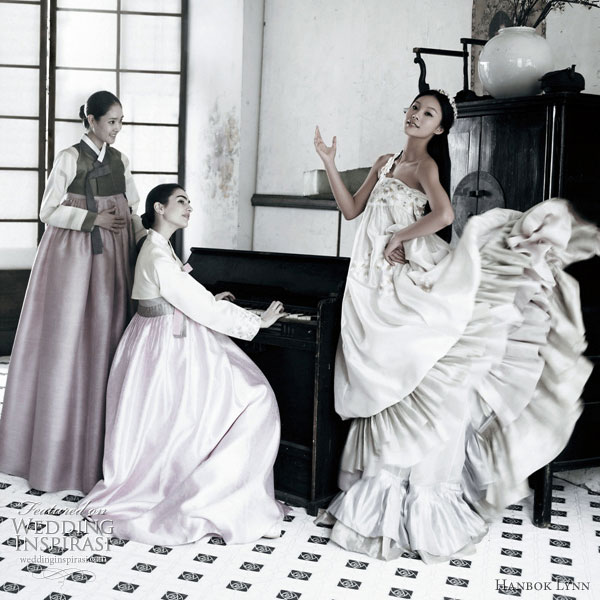 Hanbok fashion - a photoshoot showing a hanbok-inspired gown