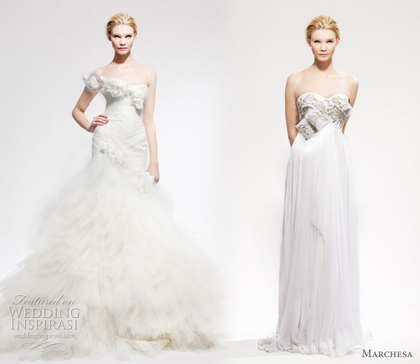 Marchesa wedding dresses - two gowns from Marchesa Bridal Fall Winter 2010 - 2011 collection