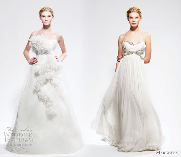 Marchesa wedding gowsn - two strapless wedding dresses from Marchesa Bridal Fall Winter 2010 - 2011 collection