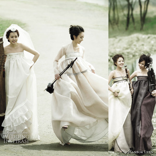 Hanbok Fusion - the traditional korean dress given an update using unusual materials such as chiffon, in lighter colors