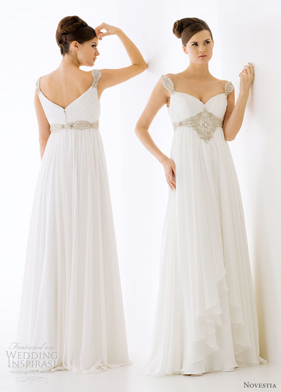 Novestia Bridal Gown collection 2010 - a Grecian goddess style airy sheath wedding gown with crystal straps and belt