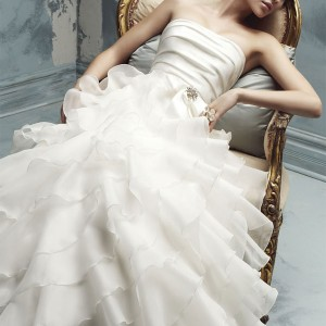 Paloma Blanca 2010 Wedding Dress - strapless bridal gown 4116 with soft, tiered layered zigzag ruffles