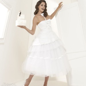 Suzanne Ermann wedding dress Mariee Couture 2011 bridal collection - Velasquez crinoline dress mid-length tulle and satin, strapless corset with frilled piqued nodes