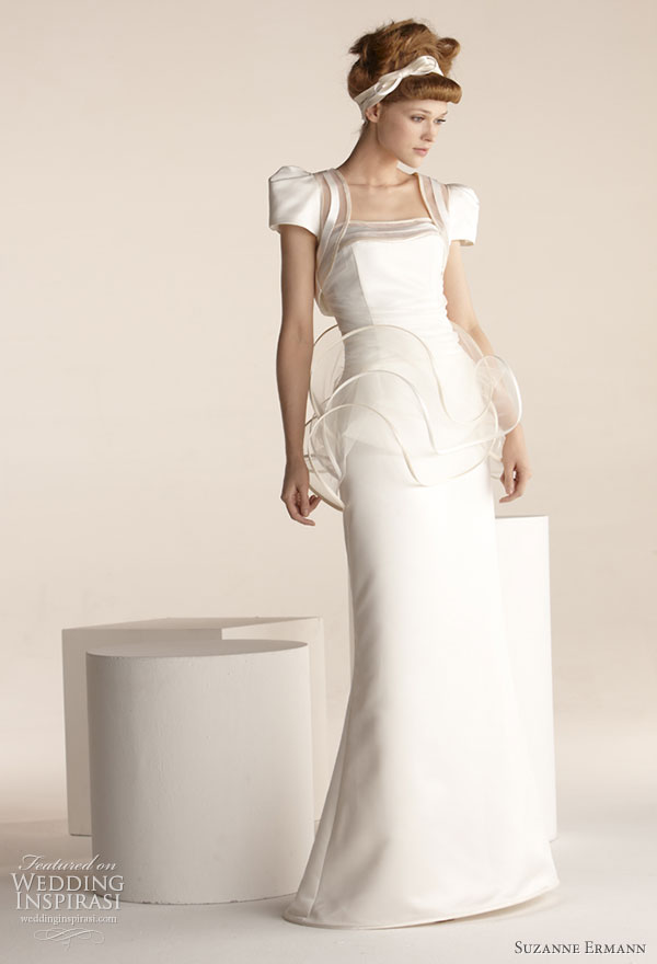 Suzanne Ermann wedding dresses 2011 SE Marier pret-a-porter bridal collection - Clochette dress in duchess satin, ruffled waist scrolls tulle strapless corset draped with tulle and satin bias stressed