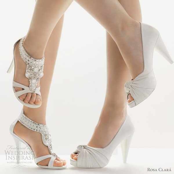 White bridal peep toe pumps and jewelled sandals from Rosa Clara 2010 wedding shoes collection