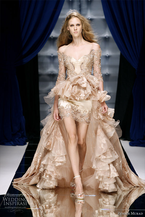 Zuhair Murad Couture Fall/Winter 2010-2011 runway collection - champagne rose gold off-shoulder long-sleeve mullet dress with train