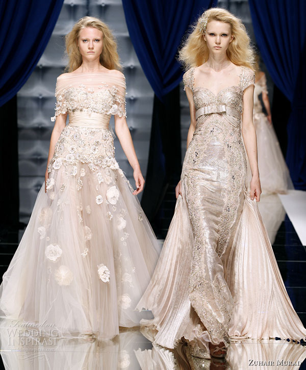 Zuhair Murad Couture Fall/Winter 2010-2011 runway collection - dresses in pale nuetral colors with metallic shine