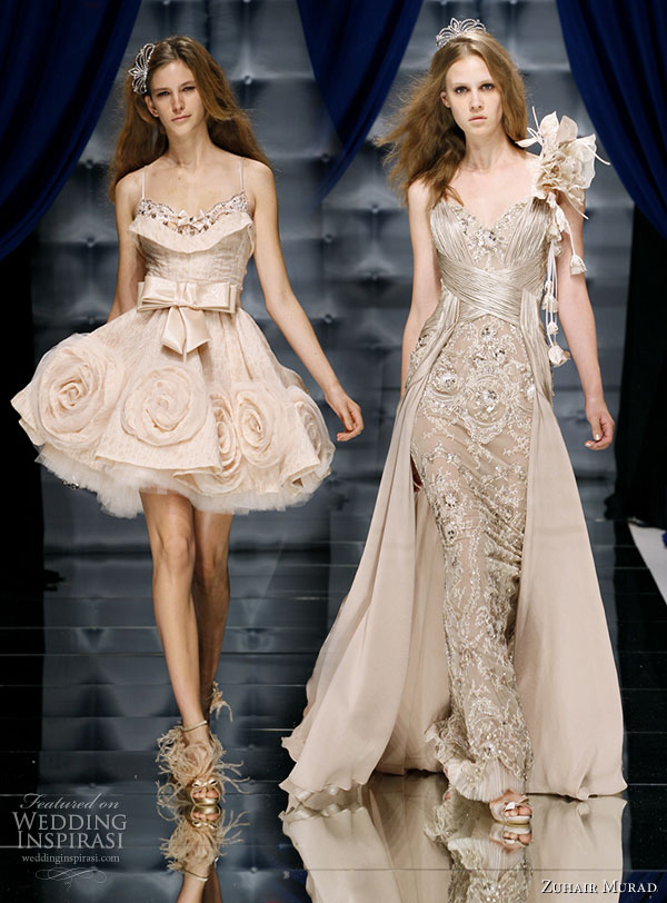 Zuhair Murad Couture Fall/Winter 2010-2011 - short and flirty rosette dress and long and elegant evening gown on the runway