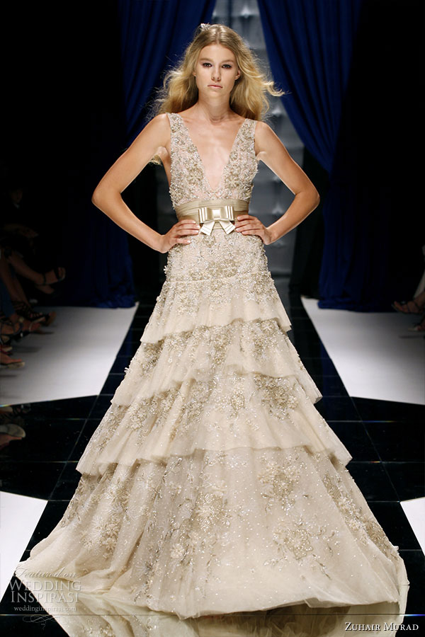 Zuhair Murad Couture Fall/Winter 2010-2011 - tiered metallic ivory gown suitable to be worn as a wedding dress
