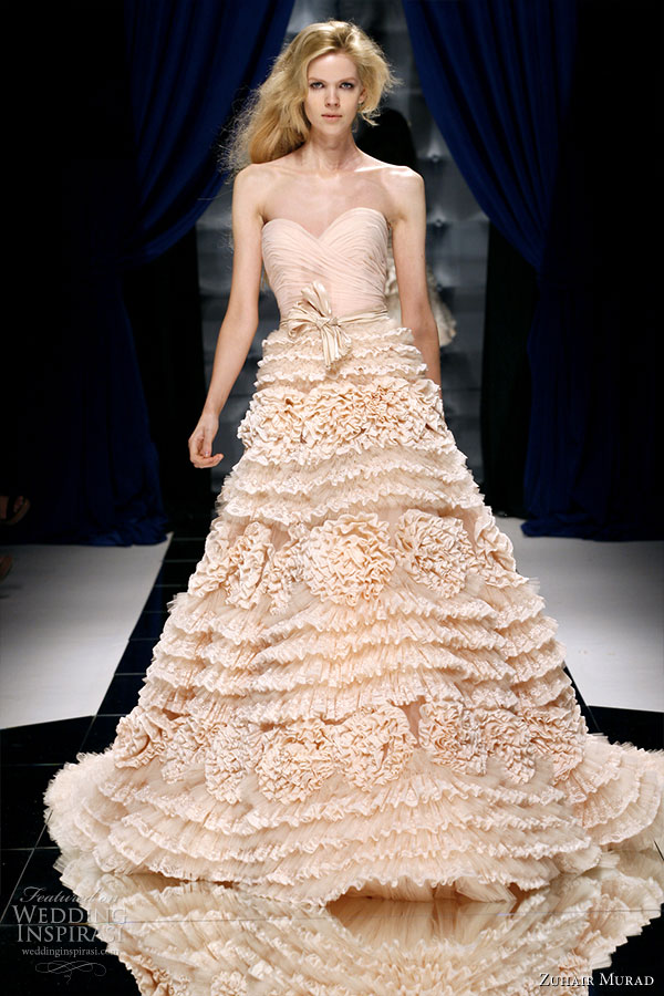Strapless sweetheart neckline ruffle dress in light pastel peach -- a model on the runway of Zuhair Murad Couture Fall/Winter 2010-2011 fashion show