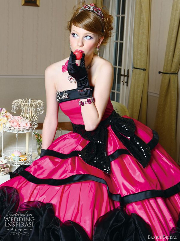 Barbie pink wedding dress with black bow sash, 2010 Barbie Bridal collection