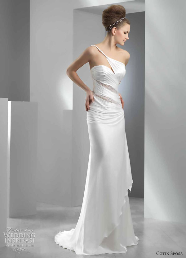 Cotin Sposa Wedding Dress 2011 bridal collection - sheath with one-shoulder asymmetric neckline