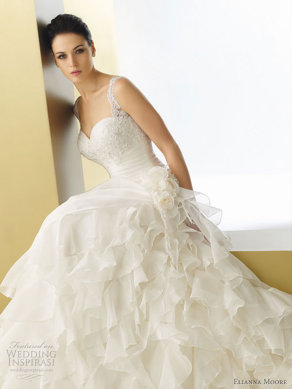 Moore wedding dresses 2011 bertola gazar organza ruffle wedding gown
