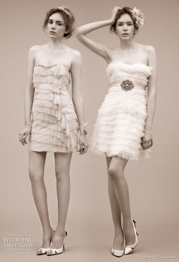 Jenny Packham short wedding dress 2011 bridal gown collection -- Kiss and Bon Bon tiered minidress