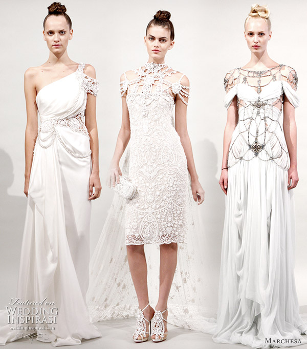Marchesa 2011 Spring bridal ready gowns - webbed white dresses to wear for a wedding