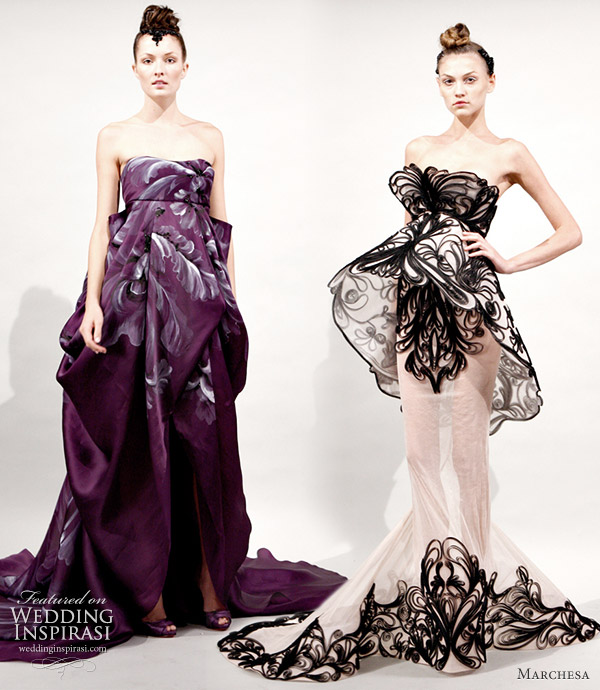Marchesa Spring/Summer 2011 RTW collection. strapless painted purple gown and black trimmed peplum dress