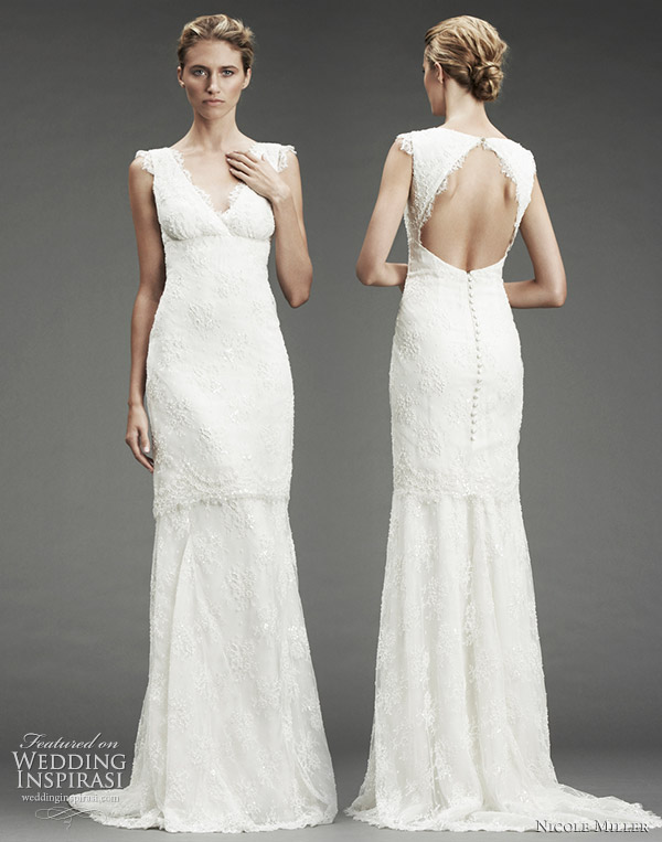 Beaded lace vneck wedding dress with lace trim and cutoutback with button