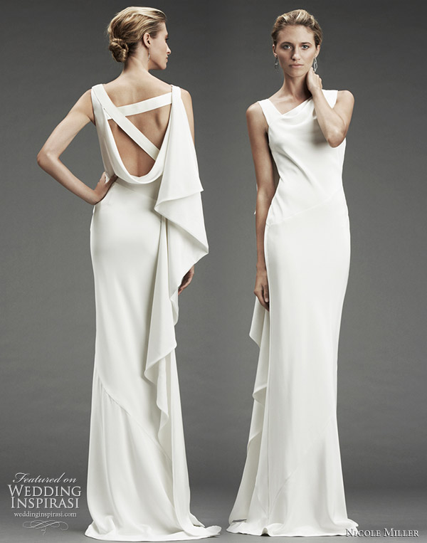 Nicole Miller Wedding Dress Fall/Winter 2010   Silk Stretch Dress With  Asymmetrical Neckline,