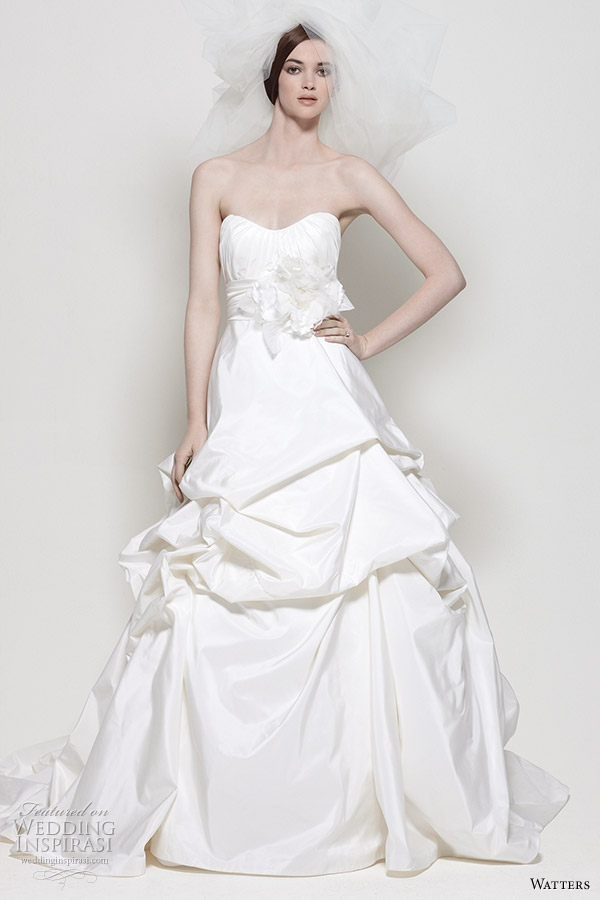 Watters 2011 wedding dress collection - Kalahari white silk taffeta strapless bridal gown