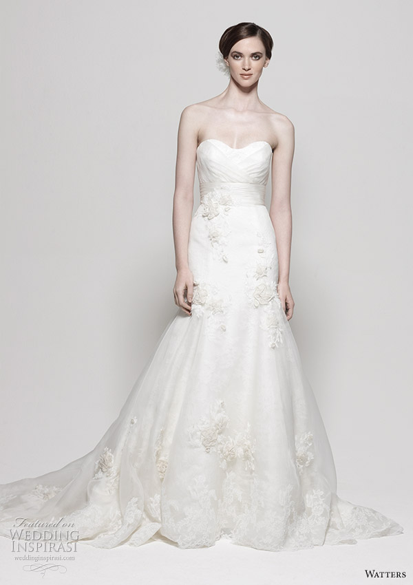 Watters 2011 Spring/Summer wedding dress collection - Sonara Ivory Washed Silk Organza strapless gown with sculpted neckline, full a-line skirt and flower/lace embellishments. Chapel Train.
