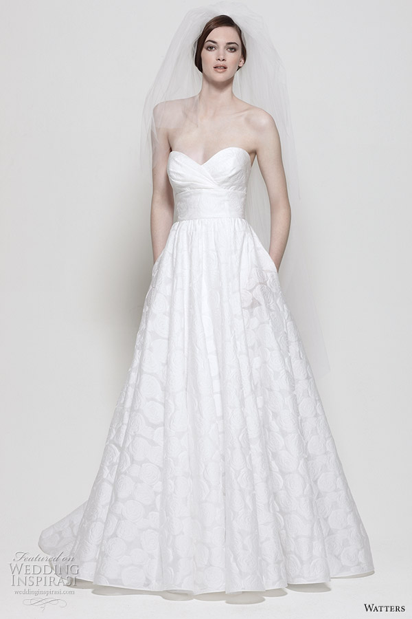 Watters wedding dresses 2011 Spring bridal colleciton - Mojave  Diamond White Floral Burn-out gown with strapless sweetheart neckline, empire waist band with flower pin and full skirt.
