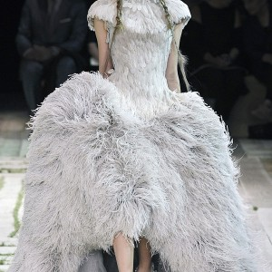 Alexander McQueen Spring/Summer 2011 ready to wear - structured feather dress