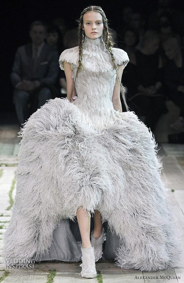 Alexander McQueen Spring/Summer 2011 ready to wear - structured feather dress