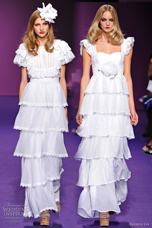 Andrew Gn 2011 Spring/Summer RTW collection - white eyelet wedding dress with ruffle and tiered skirt