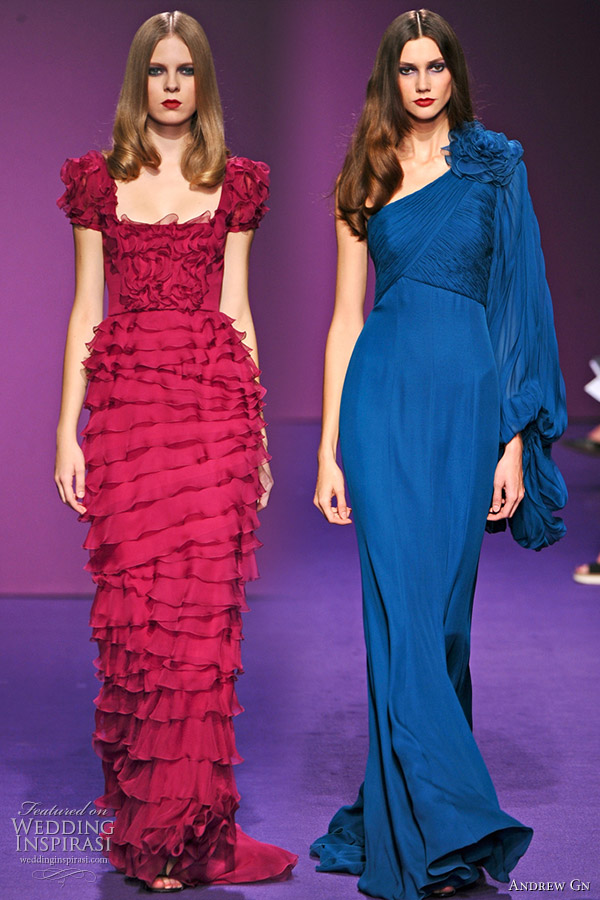 Andrew Gn 2011 Spring/Summer red ruffle tier dress and one-shoulder long-sleeve deep blue evening gown