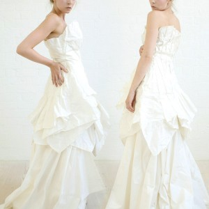 Blushless wedding dresses season 2011 Transformation bridal collection - theMAEKOone full gown- dynamic silk taffeta dress with origami inspired folds in ivory.