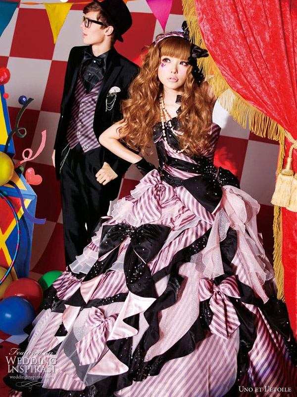 Cute and colorful wedding dresses pink and black ball gown