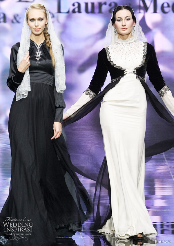 Hijab wedding dress inspiration by russian designers Laura and Medni