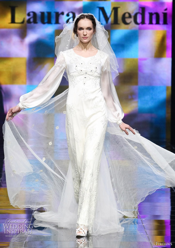 Fashionable long sleeve wedding dress for modest brides by Russian fashion designer sisters from Chechnya Laura and Medni Arzhiyeva