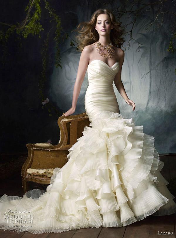Lazaro Bridal Gowns, Wedding Dresses: Style LZ3050  Ivory silk satin organza flamenco bridal gown, sweetheart neckline, elongated draped bodice, flamenco ruffle pleated skirt, chapel train.