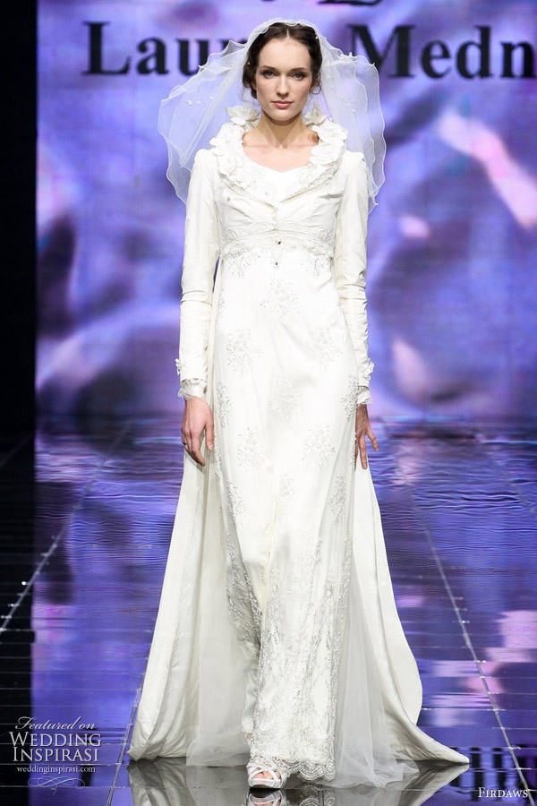 Long sleeve white wedding gown with unique collar by Laura and Medni for label Firdaws