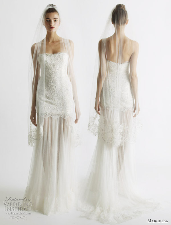 Marchesa wedding dresses Spring 2011 - strapless lace bridal gown