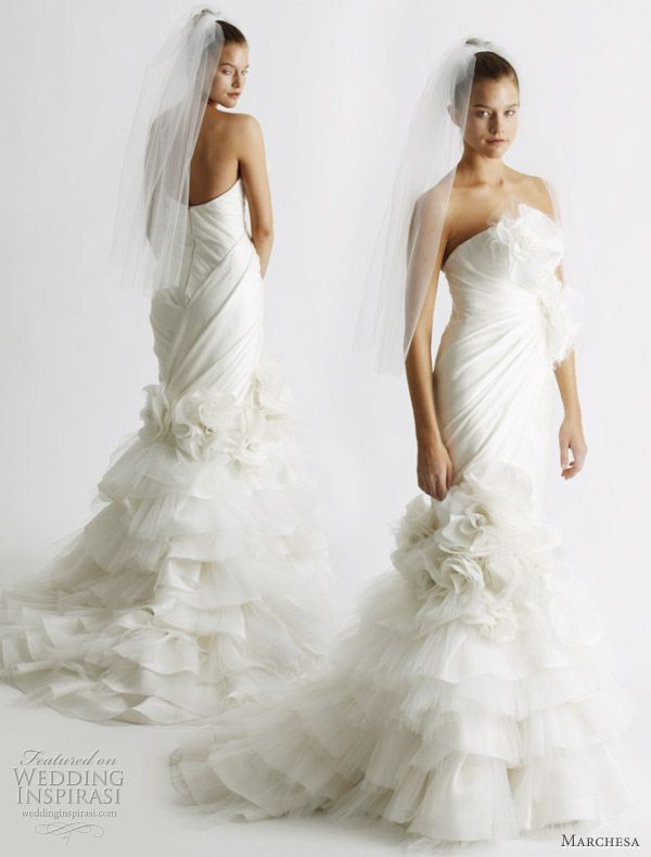 Mermaid style wedding dress by Marchesa from the Spring/Summer 2011 bridal collection, shown at the New York bridal market
