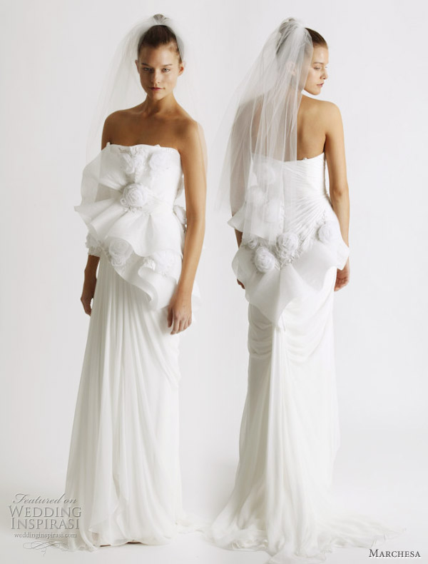 Strapless wedding gowns, Marchesa Spring 2011 bridal collection