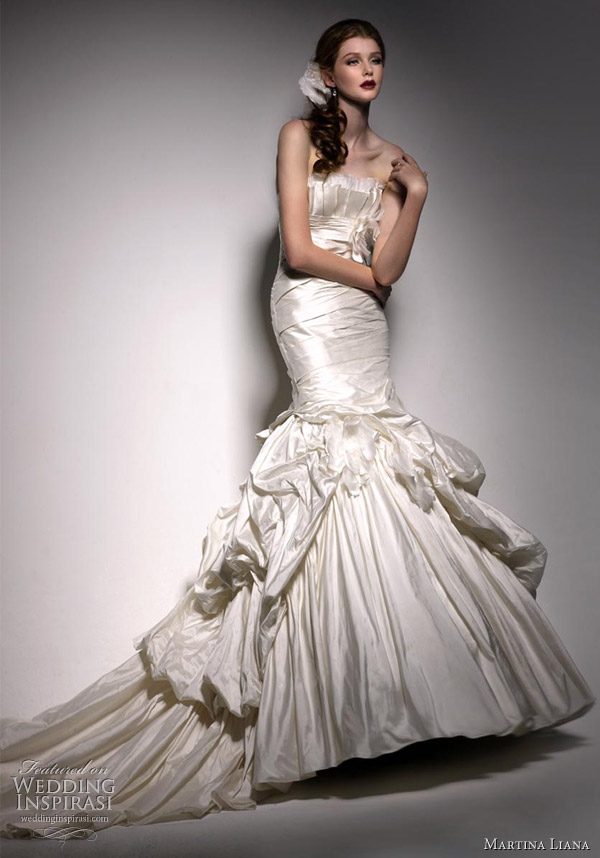 Martina Liana wedding dress 2010-2011 collection - silk taffeta gown with silk organza accent (other fabric option available)